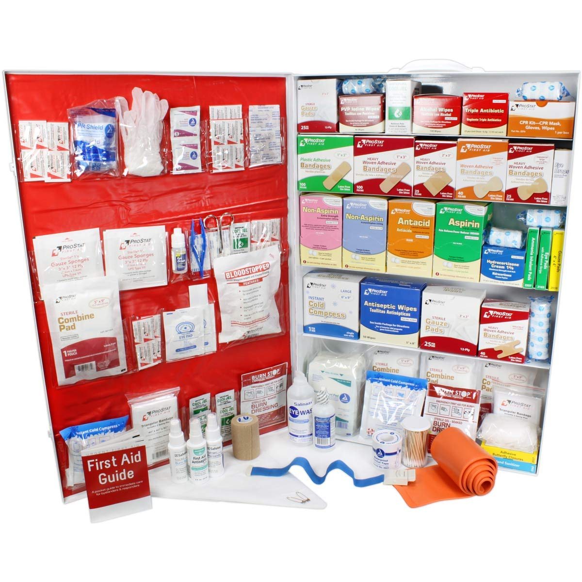 OSHA & ANSI 2 Shelf Industrial First Aid Cabinet with Pocket Liner, 75 Person, 562 Pieces, 2015 Class B+, Types I & II, Made in USA by Urgent First AidTM with Extra Content & New ANSI First Aid Guide by Urgent First Aid