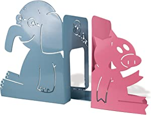 "YOTTOY Mo Willems Collection | Elephant & Piggie Set of Durable Metal Bookends 9""H x 4""W x 7""D"