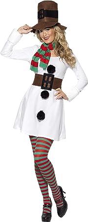 Smiffys Disfraz de Muñeca de nieve, Blanco, con vestido, sombrero ...