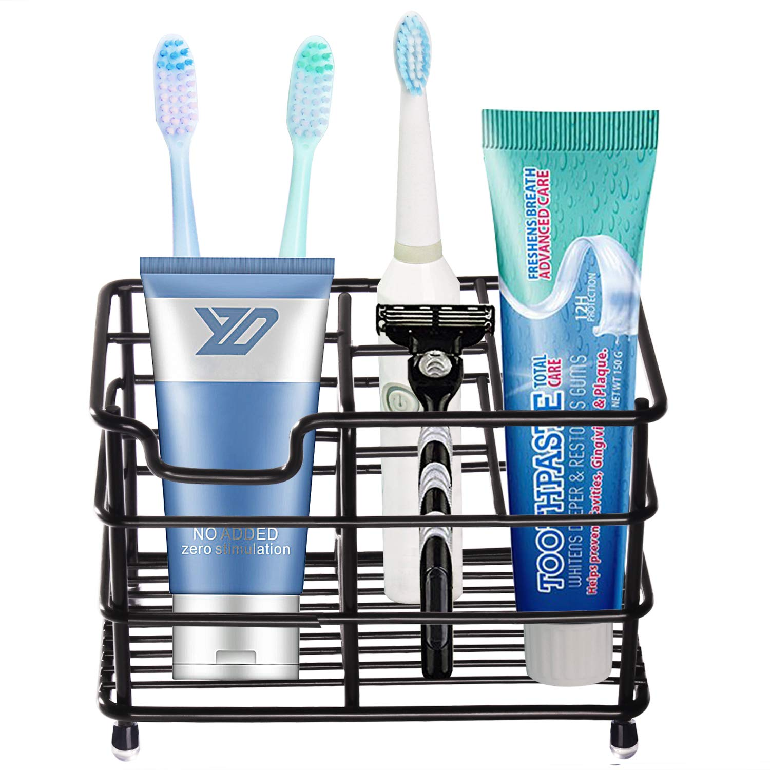 HYRIXDIRECT Toothbrush Holder Black Plating Stainless Steel Rustproof Bathroom Electric Toothbrush Holder Toothpaste Storage Organizer Multi-Functional 6 Slots Stand for Vanity,Countertops (Black-01) by HYRIXDIRECT