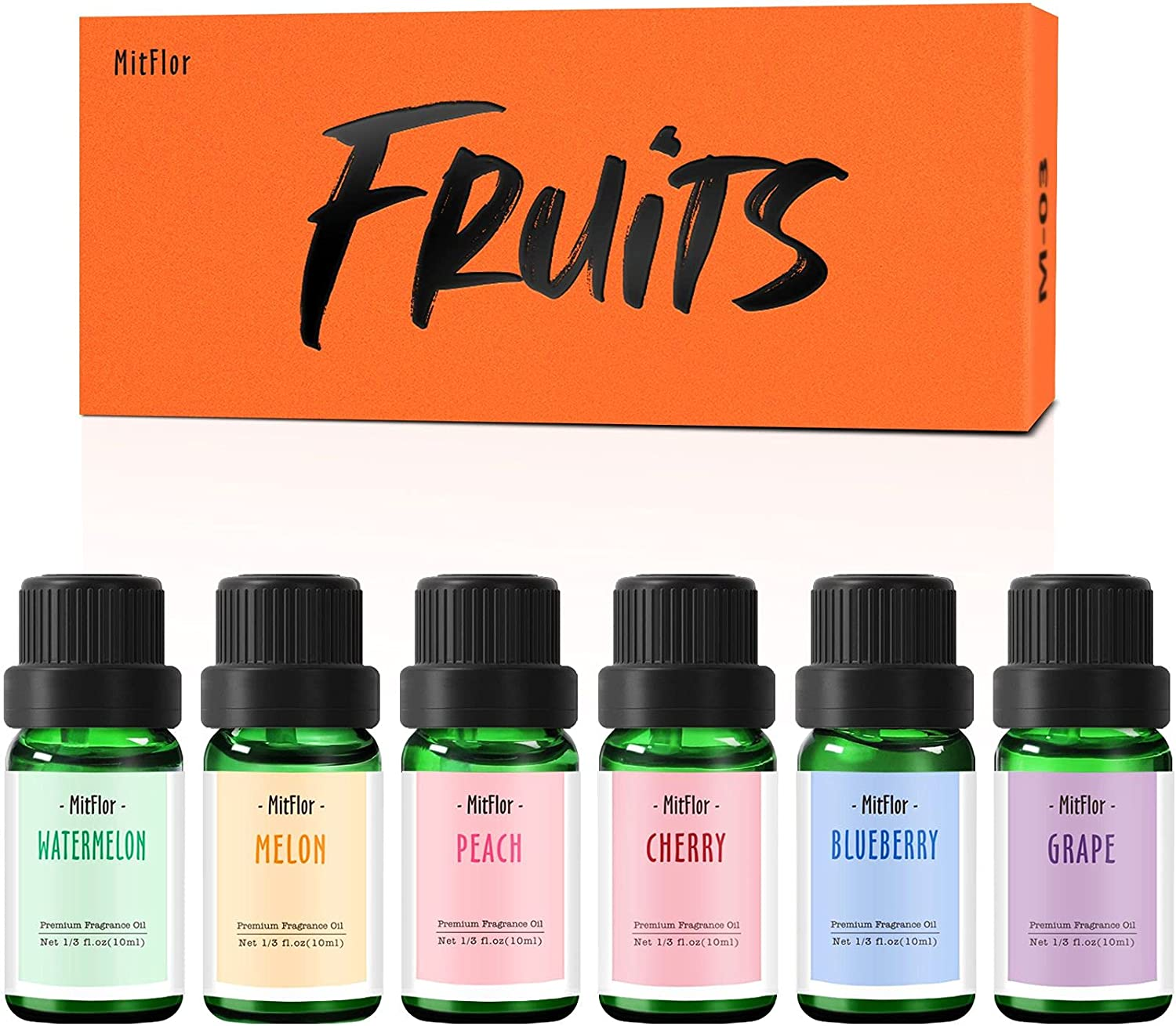 Fruity Fragrance Oils, MitFlor Premium Scented Oils, Fruit Essential Oils for Diffuser, Soap, Candle Making, Peach, Cherry, Watermelon, Blueberry, Grape, Melon, Summer Aromatherapy Oils Gift Kit