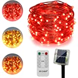 ErChen Dual-Color Solar Powered LED String Lights, 33FT 100 LEDs Remote Control Color Changing 8 Modes Copper Wire…