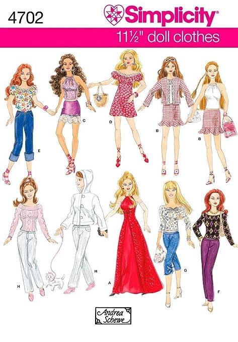 Simplicity 4702 - Patrones de costura para ropa de muñeca (talla única)