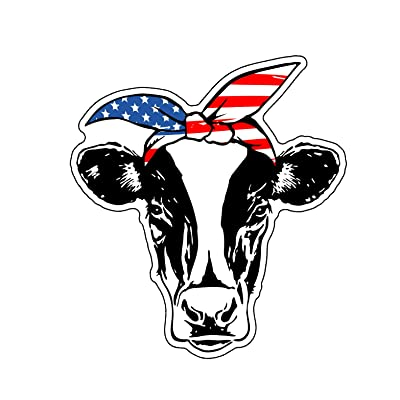 WickedGoodz American Flag Bandana Cow Vinyl Decal - Patriotic Sticker, for Tumblers, Laptops, Car Windows: Automotive