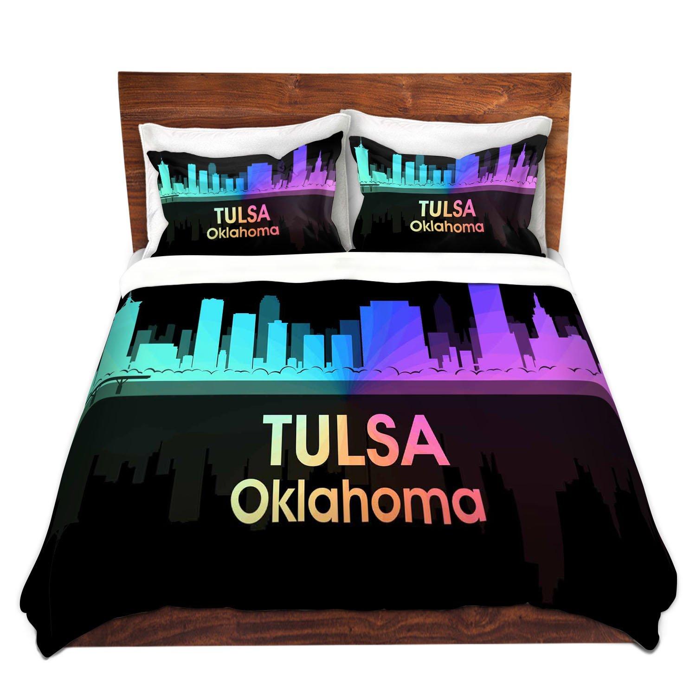 DiaNoche Designs Angelina Vick-City V Tulsa Oklahoma Brushed Twill Unique Home Decor Bedding Cover, 8 King Duvet Sham Set