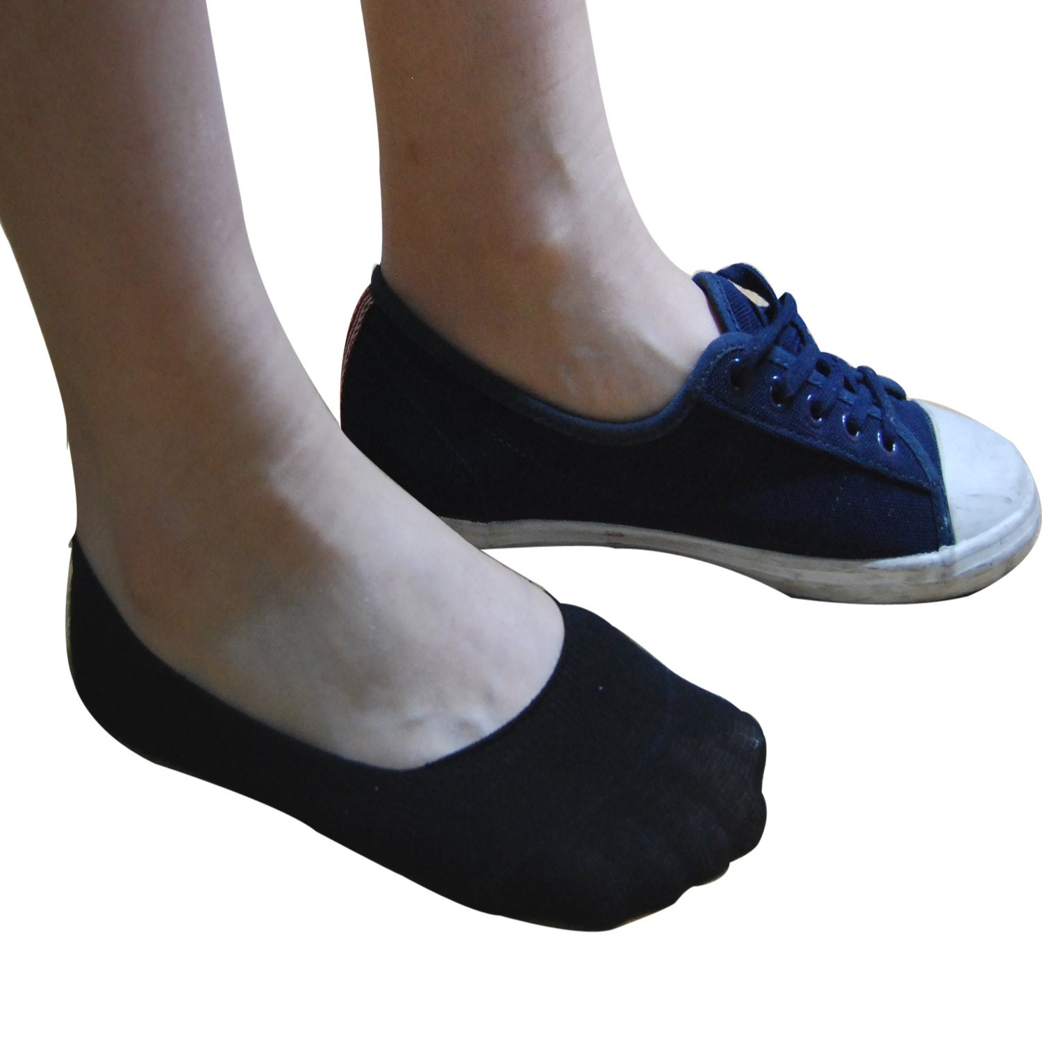 TETIBA Womens Cotton Invisible No Show Trainer Socks With Double Elastic Band