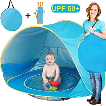 cheap for discount 93947 50de7 TURNMEON Baby Beach Tent, Pop Up Portable Sun Shelter with Pool, 50+ UPF UV  Protection & Waterproof 300MM, Summer Outdoor Baby Tent for Aged 0-4 ...