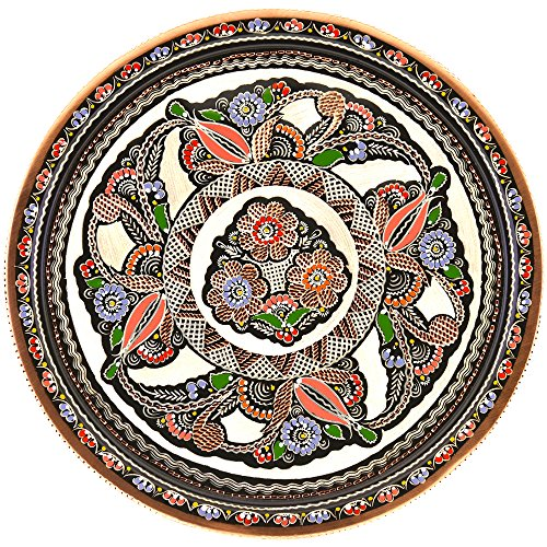 Palace Tray - Ottoman Style Handmade Handpainted Decorative Copper Round Guest Serving Tray