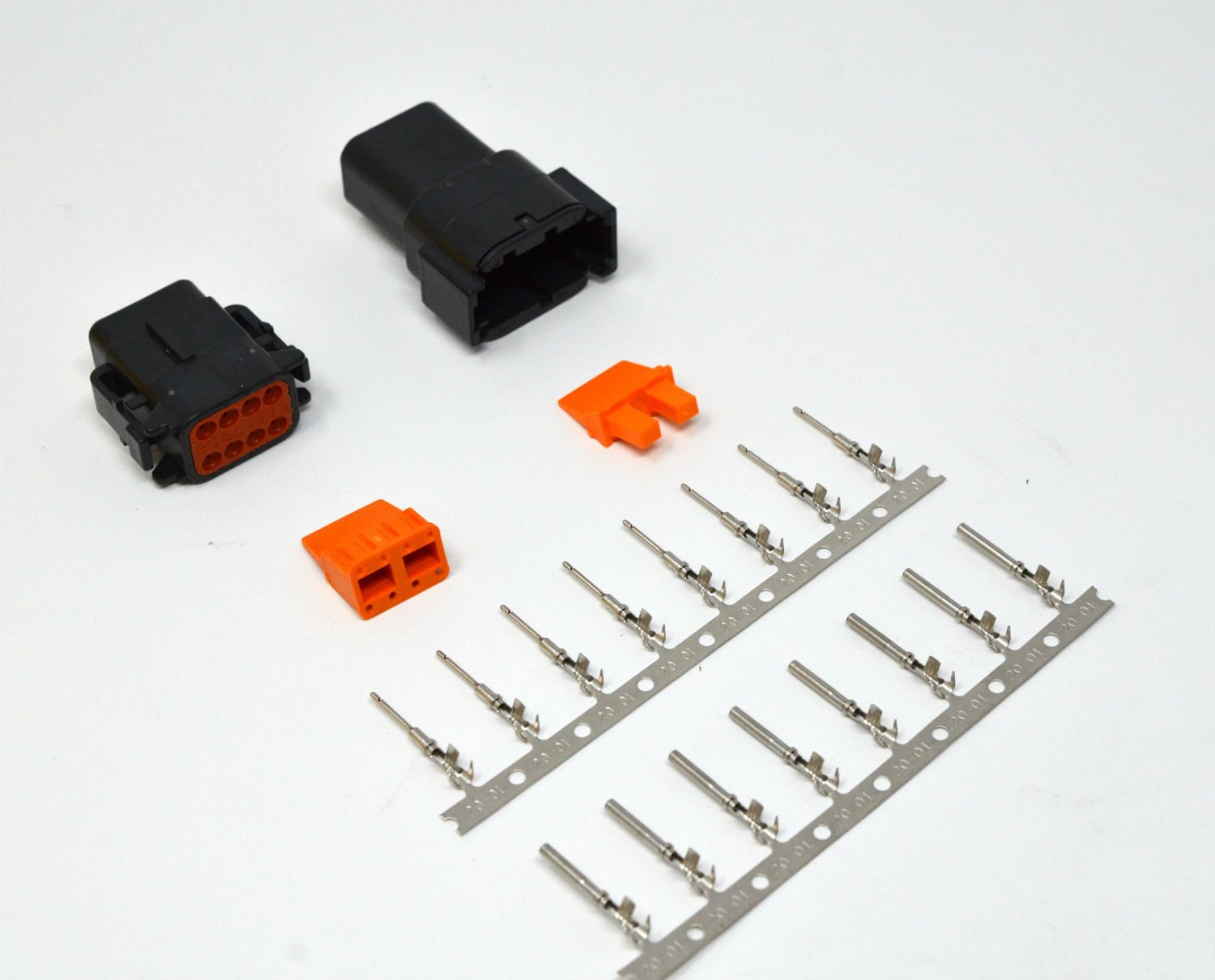 Deutsch DTM Black 8-pin Connector Kit 20AWG Stamped Contacts