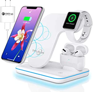 Wireless Charger 3 in 1 Charging Station for Latest Airpods iPhone Watch, TPLISAK Charging Dock Stand Compatible iPhone 11 Series/XS MAX/XR/XS/X/8/8Plus Apple iWatch SE/6/5/4/3/2/1 Airpods Pro/2/1