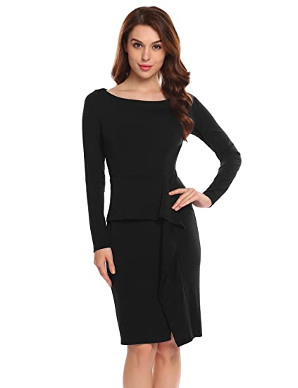 e42f6c5943 Beyove Women s Long Sleeve Work Dress Elegant Peplum Ruffles Split Knee  Length Pencil Dress Black