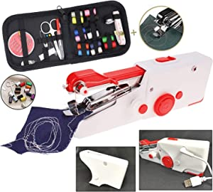 TooFu Handheld Portable Electric Sewing Machine Kit, Mini Home Electric Sewing Machine with Free Sewing Kit, USB Power Cord, Silicone Sleeve (White Red)
