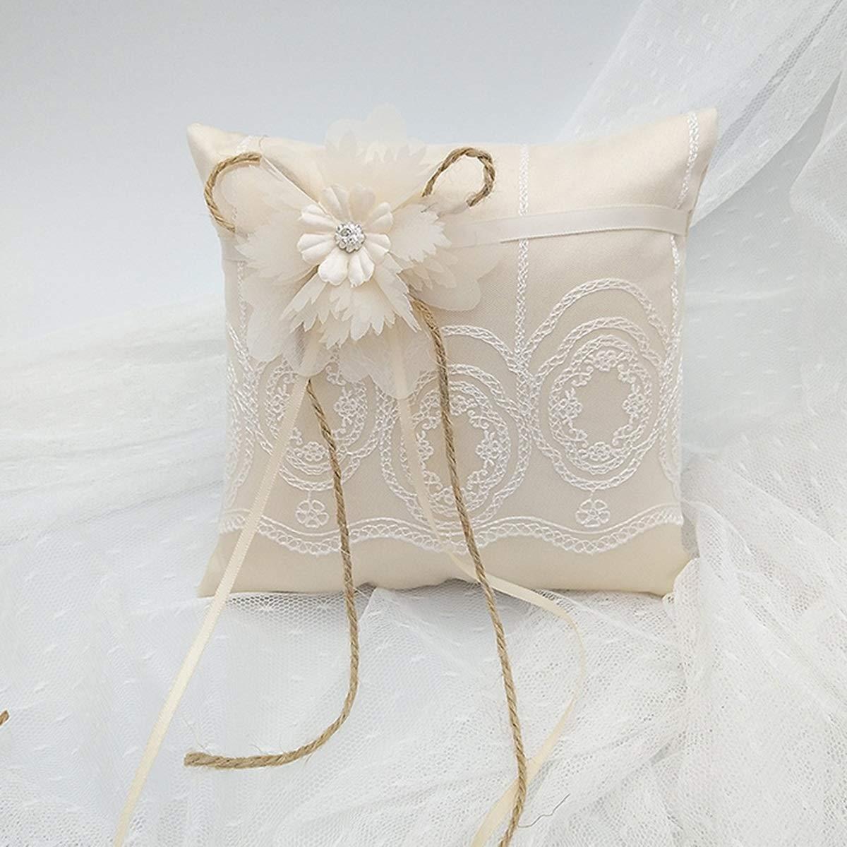 HaiQianXin Coj/ín de Anillo de Encaje Floral Ceremonia Nupcial de la Boda Portador de Bolsillo Coj/ín de Almohada con Cinta