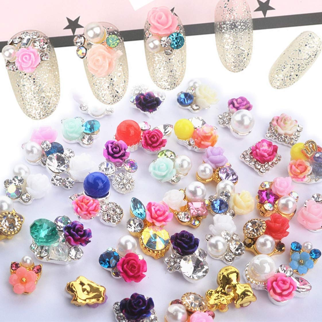 editTime 36 pcs Charms 3D Flowers Nail Jewelry Pearl Nail Art Bow Rhinestone Crystal Diamonds Resin Artificial Flower Alloy Nail Metal Flower(36pcs flower) by editTime
