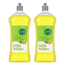 Godrej Protekt Germ Protection Dish Wash Liquid Gel Removes Grease, Fragrance: Lime, Pack Of 2 (750 ML Each)