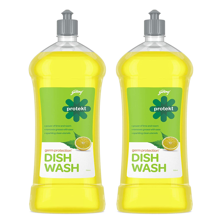 Godrej Protekt Germ Protection Dish Wash Liquid Gel – Removes Grease, Fragrance: Lime, Pack of 2 (750ml each)
