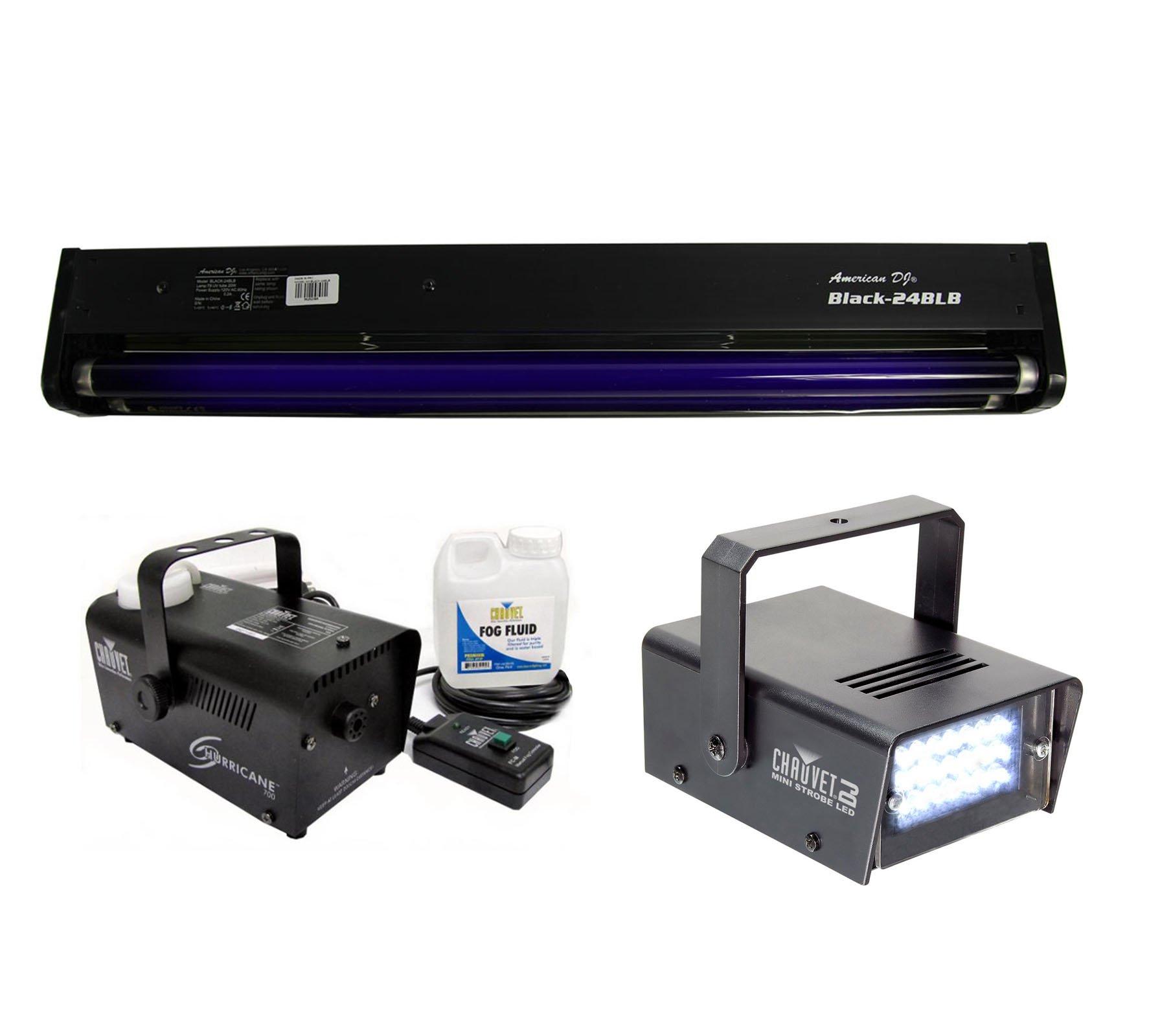 AMERICAN DJ BLACK-24BLB 24'' UV Blacklight + CHAUVET Strobe Light + Fog Machine