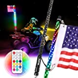 Beatto 3FT(0.9M) RF Remote Control RGB LED Whips Light with Dacning/Chasing Light LED Antenna Light for Off- Road…
