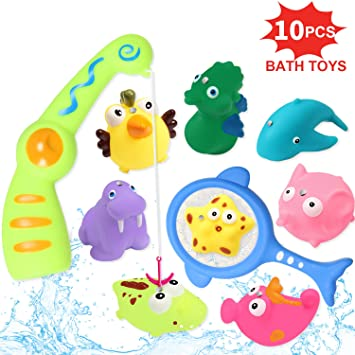 10pcs Baby Bathtub Frog Toys Water Squirt Fun Bath Toy Rubber Bathroom Float Set