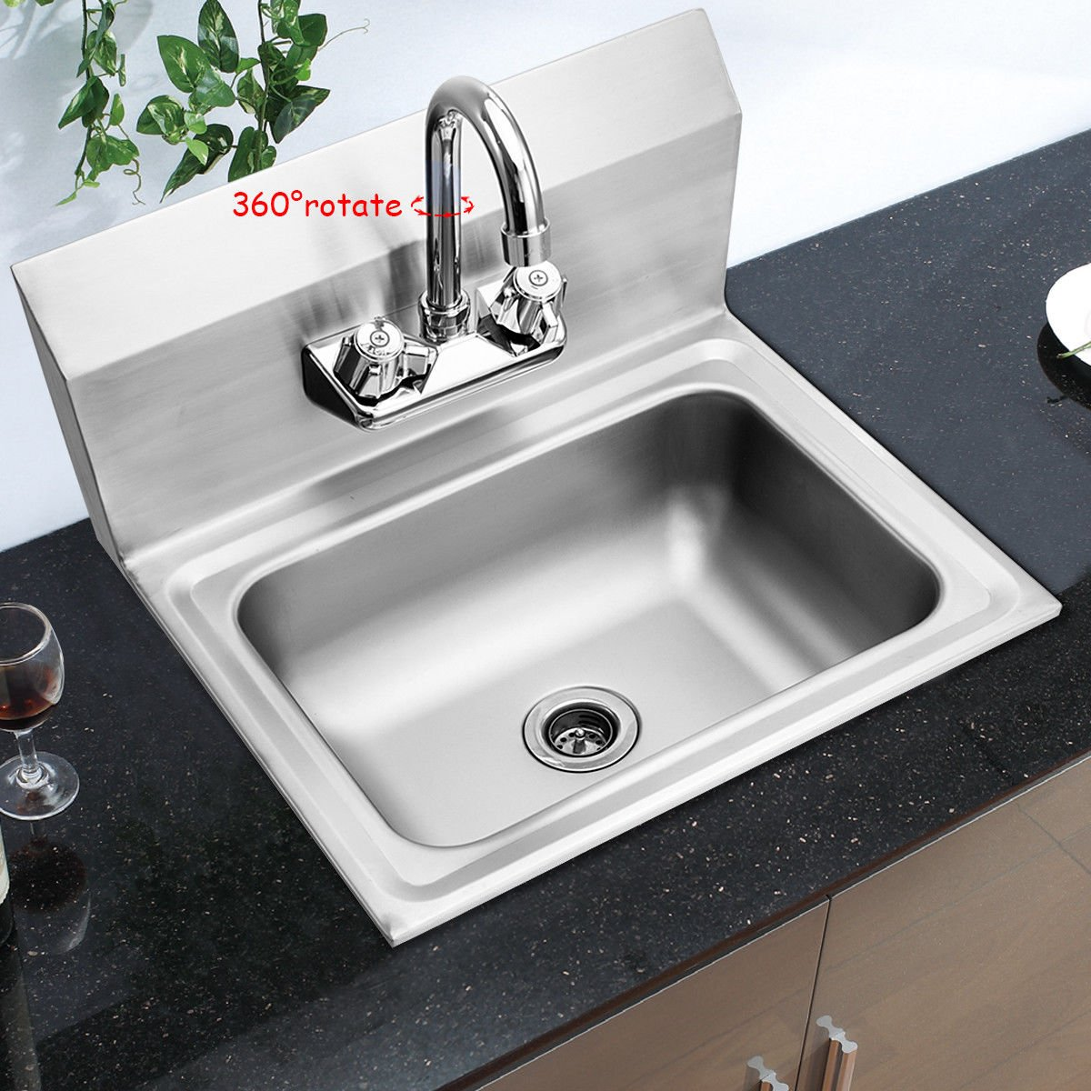 Giantex Commercial Stainless Steel Hand Washing Sink with Wall Mount Faucet Kitchen Heavy Duty Hot & Cold Temperature Water Inlet Washing Basin, ...
