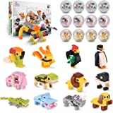 QQPOW Toy Party Favors for Kids Mini Animal Building Block,12PCS Toys Set for Boys Girls,Fillers Carnival Prizes…