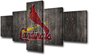 Picture Wall Decorations for Living Room The St. Louis Cardinals Team Logo Painting on Canvas American Professional Baseball Poster and Prints Home Decor Wall Art Framed Ready to Hang(50Wx24H inches)