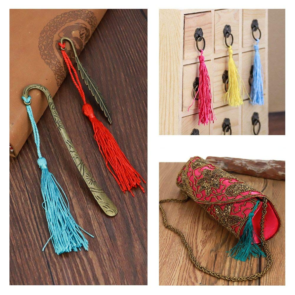 Ruby Red 100 Thread Tassels Fringed Pompoms For Crafts