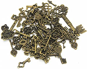 IBS 100 Gram Mixed Antique Skeleton Keys Charms Pendants for Craft Necklace Jewelry Making (Bronze)