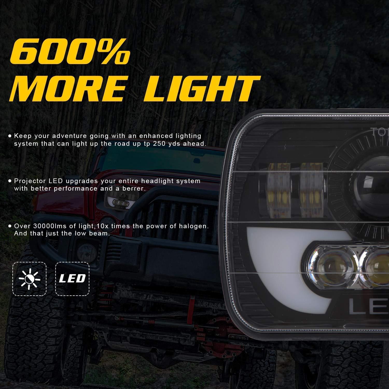 ersetzen,5x 7 wansosuper 5x7 7x6 Zoll LED-Scheinwerfer Baugruppen Hallo//Lo Sealed-Beam-Birnen-Scheinwerfer Fit Trucks Wrangler XJ YJ Sedans 2 St/ück
