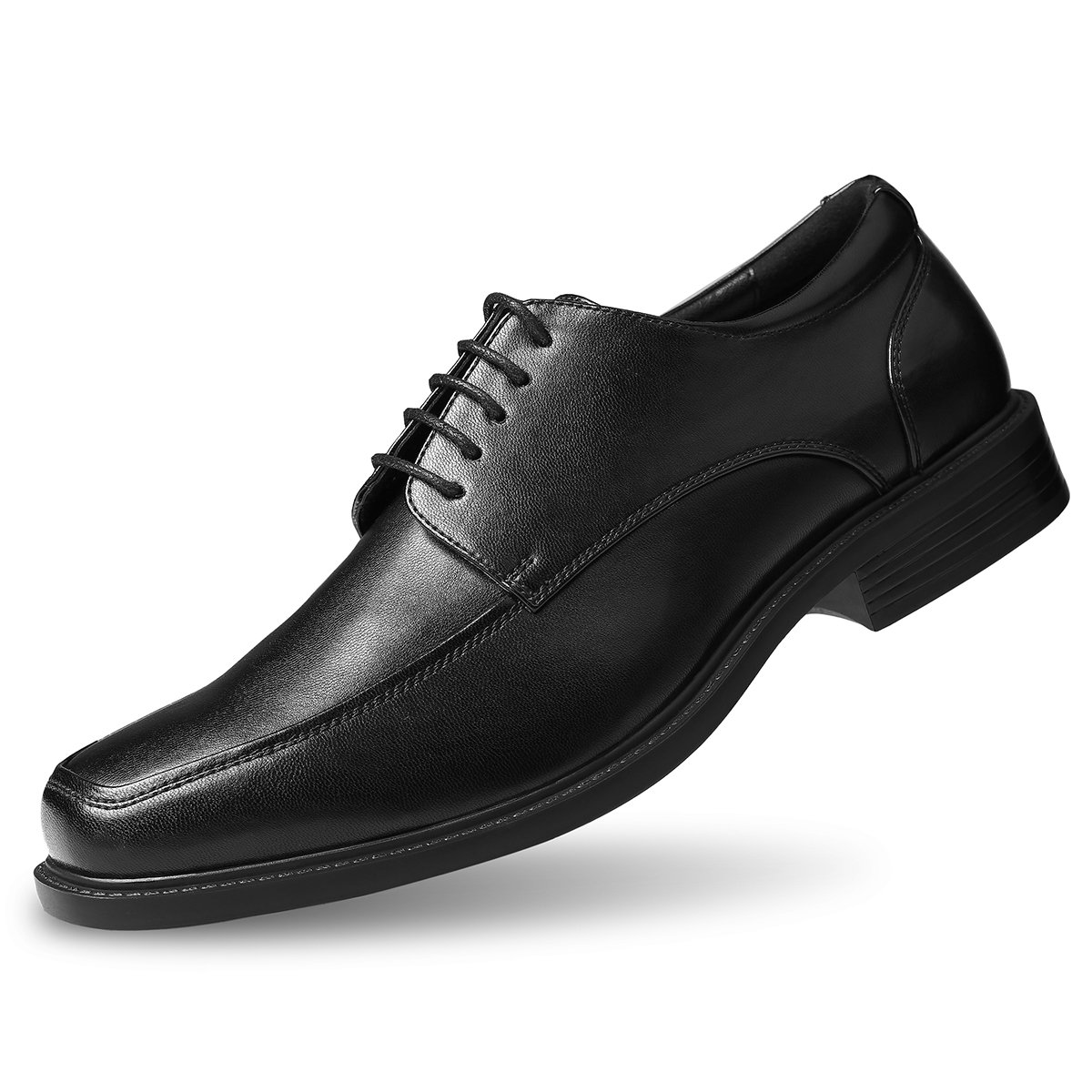 Men's Leather Dress Shoes Square Toe Lace up Oxfords Black 7.5