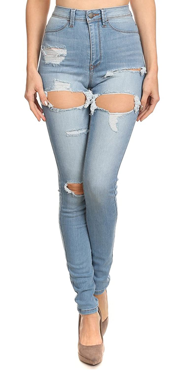 Women's Jeans High Rise Washed Down Destroyed Ripped Distressed Stretch Skinny Denim Pants with Hand Sanding