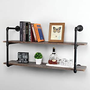MBQQ Industrial Retro Pipe Shelf 44in 2 Tier Wall Mounted,Rustic Floating Shelves,Farmhouse Kitchen Bar Shelving,Home Decor Book Shelves,DIY Bookshelf Hanging Wall Shelves,Black Brush Silver