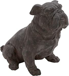 MISC Brown Bronze Bulldog Statue Sitting Dog Sculpture Puppy Art Decor Stone Artistic Pose Yard Garden Front Porch Decorative, Resin Polystone 13x17