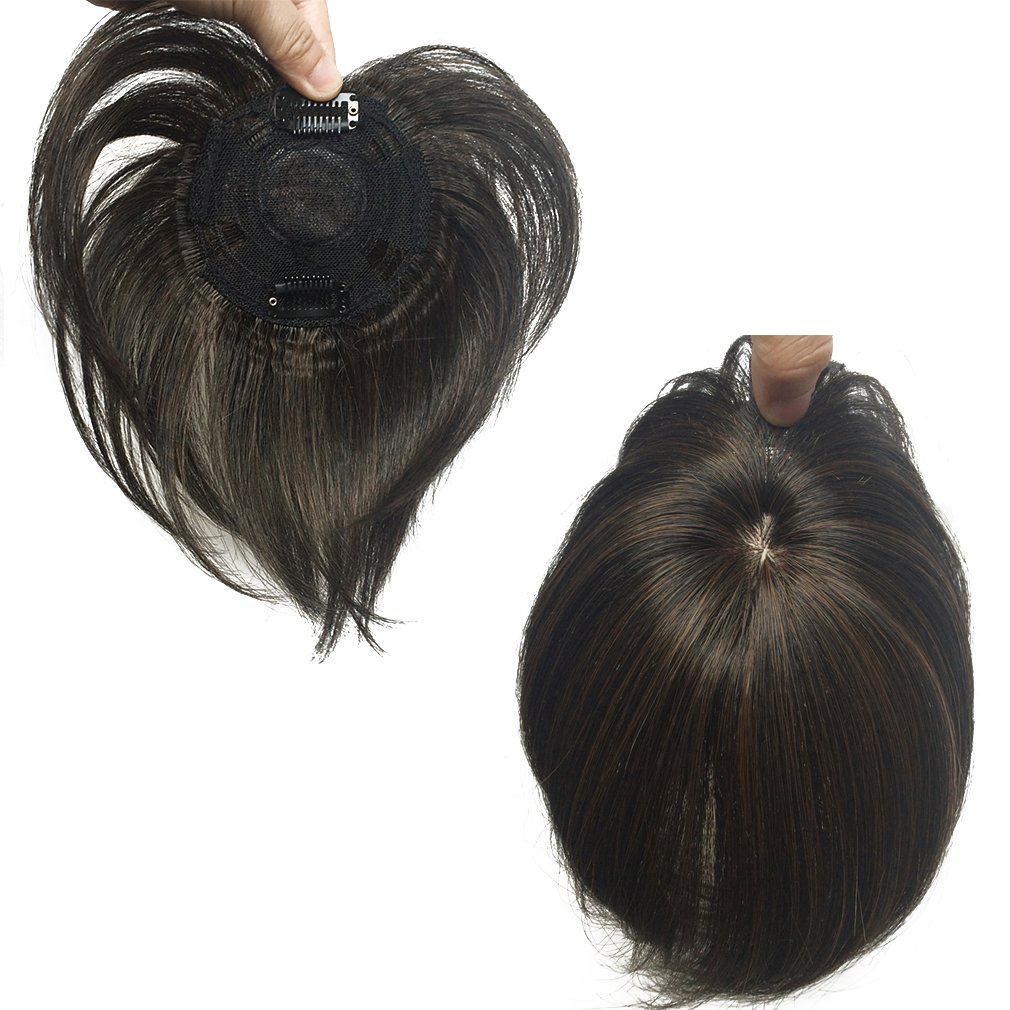 Namecute Top Wiglet Top Hairpieces Clip in/on Hair Short Black mix Brown Hair Bang for Women Men