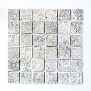 Häufig Mosaik Fliese Travertin Naturstein weißgrau silber Antique OD18