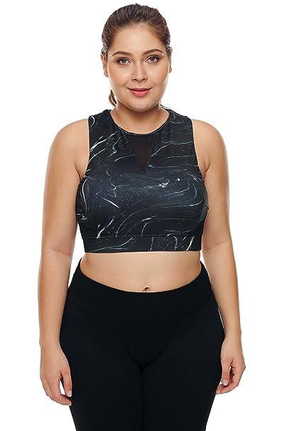 f41ea92571 XAKALAKA Women s Plus Size Criss Cross Strappy Support Workout Sport Yoga  Tops Bra Black M