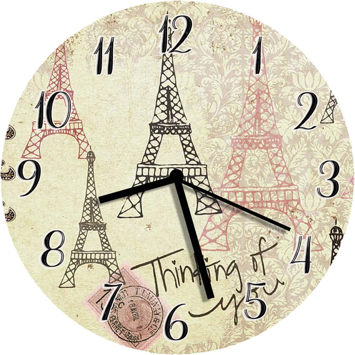 XinsFaith Silent Decorative Wall Clock Eiffel Tower Think of You Vintage 10 Inch Wall Decor Arabic Numerals for Bedroom Living Room Kitchen Frameless