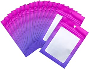 XFXIA 100 Pieces Mylar Bags, Resealable Smell Proof Bags with Ziplock and Clear Window, Flat Aluminum Foil Pouch Bag Airtight Ziplock Baggies for Sample, Coffee Beans, Candy,Food,Eyelash,Lip Gloss Packaging |flat|cute|(Gradient Pink& Purple, 4×6 inches)