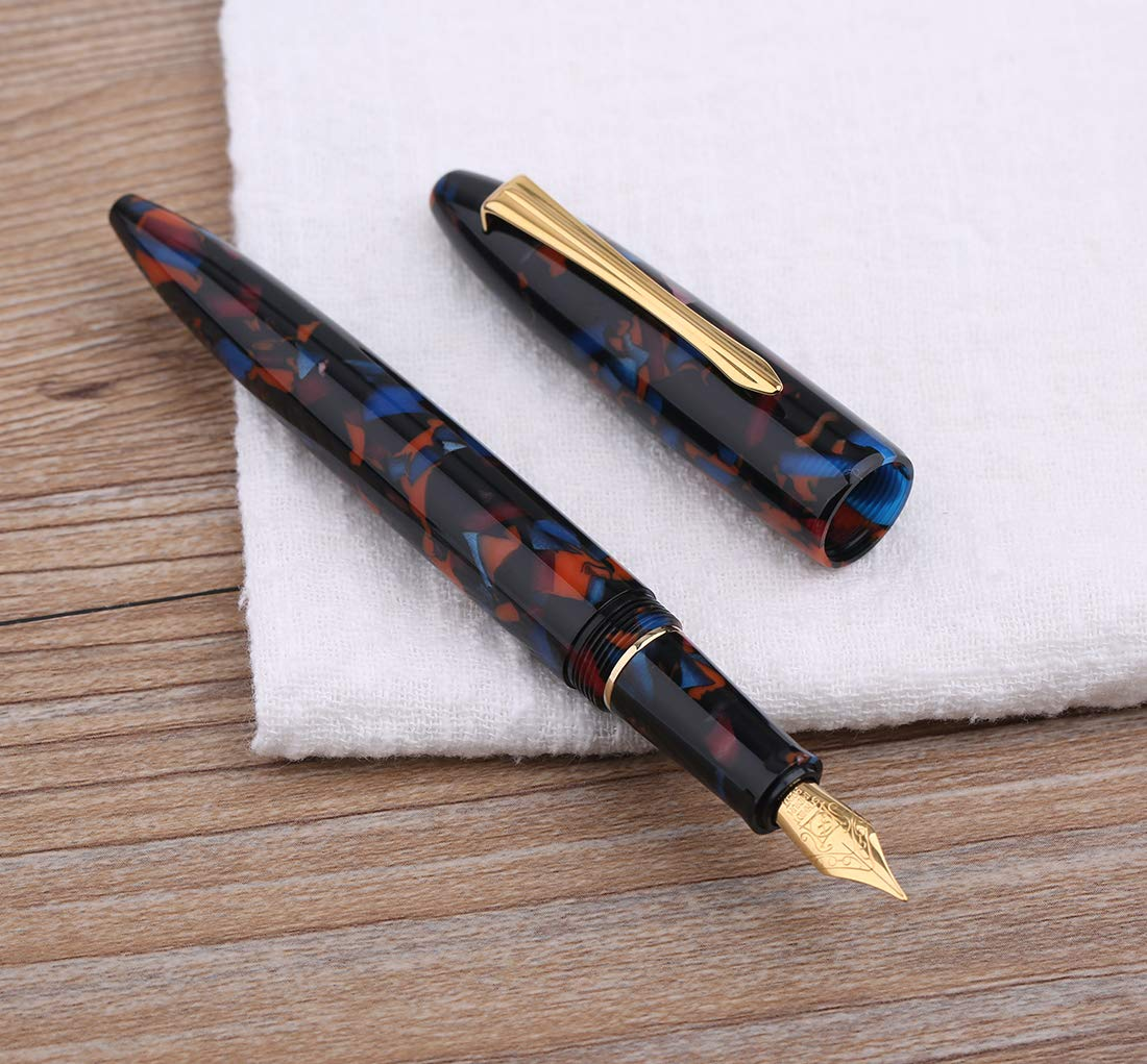 Wality 71J Eyedropper Big Size Demonstrator Fountain Pen Fine Nib Blue Marble