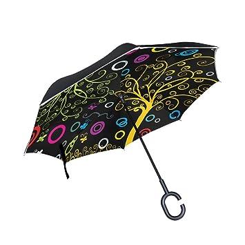 ALAZA Árbol de la vida puede paraguas paraguas plegable de doble capa resistente al viento Reverse