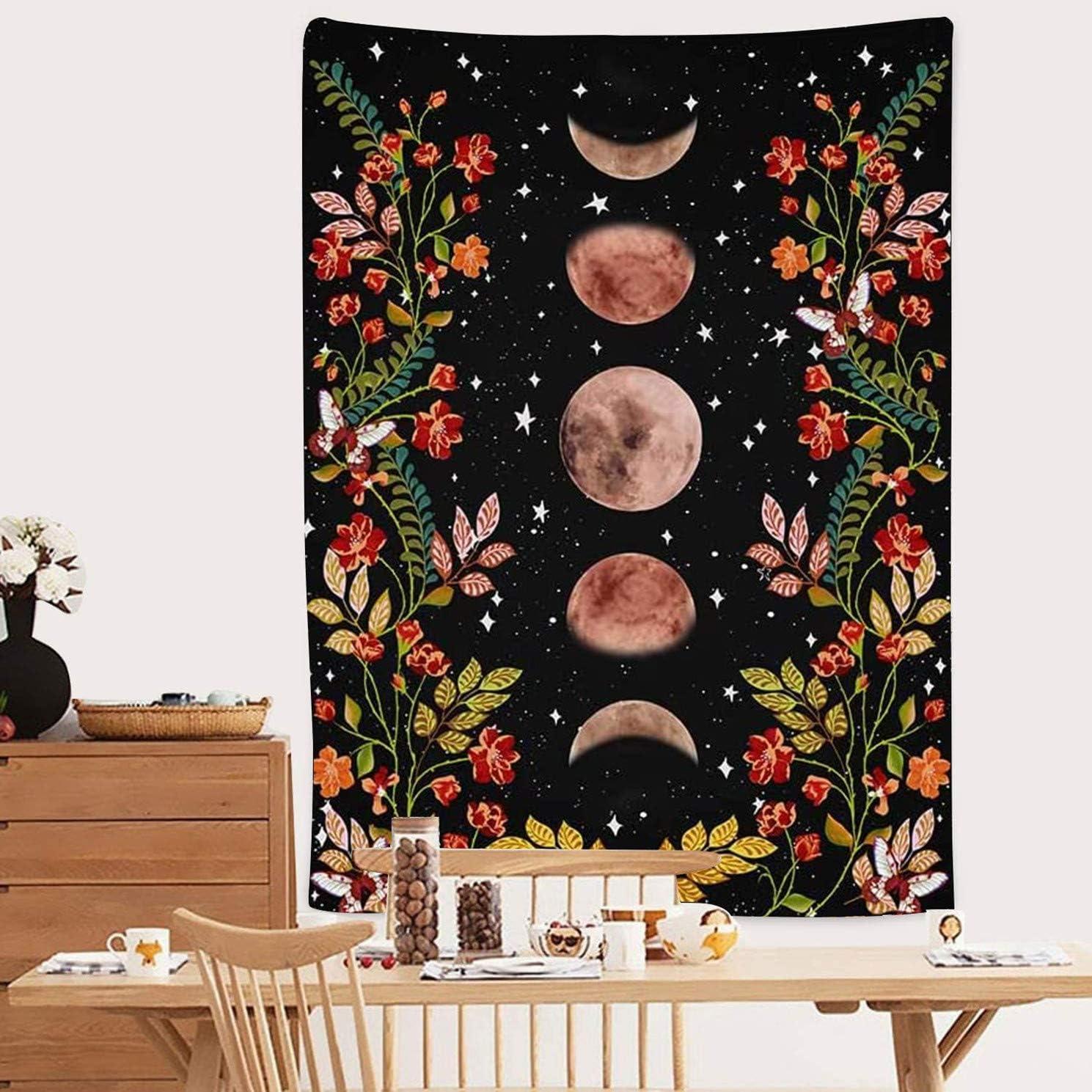 Alumuk Lune Light Jardin Tapisserie Tapis Mural Phase de Lune entour/é de vigne et fleurs Tapisserie Toile Noir D/écoration Murale pour Salon Chambre