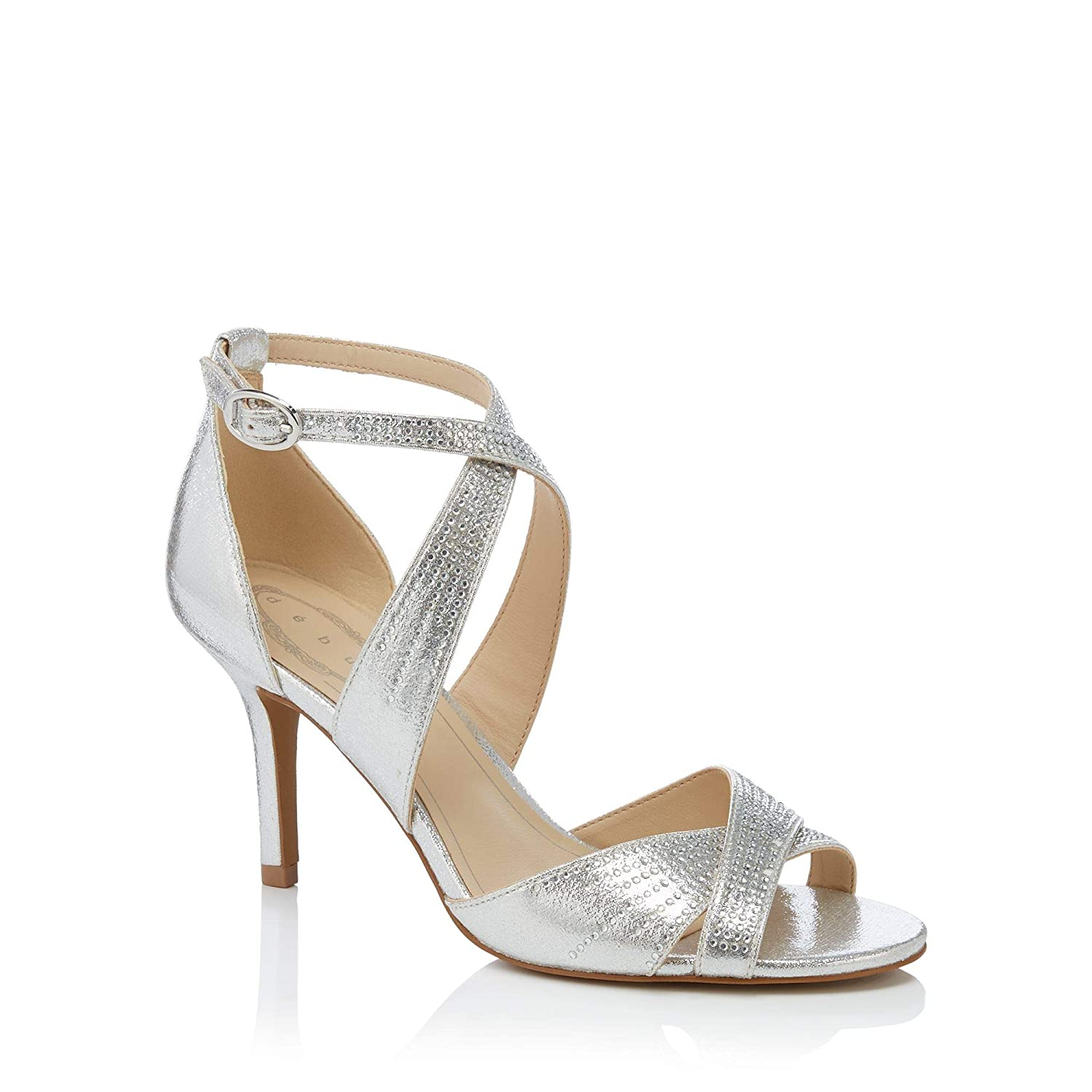 12d1ef6dc10 Debut Womens Silver Gemstone  Donte  High Stiletto Heel Ankle Strap Shoes   Amazon.co.uk  Shoes   Bags