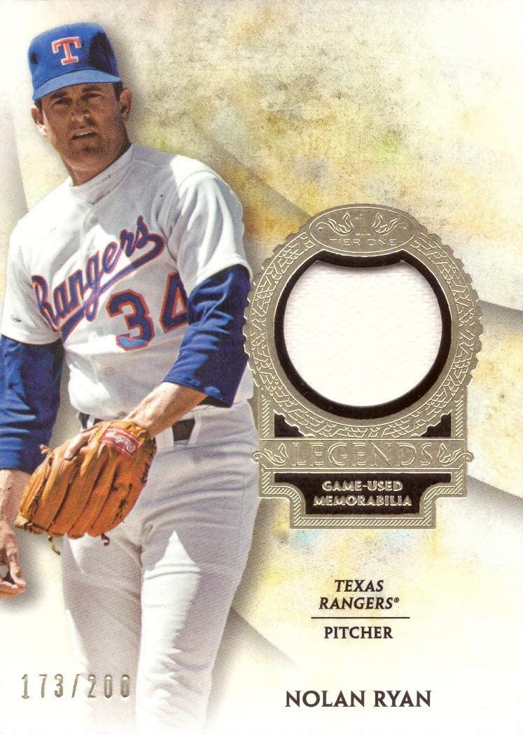 2017 Topps Tier One Relics Legends #T1RL-NR Nolan Ryan Game Worn Rangers Jersey Baseball Card White Jersey Swatch Only 200 made!