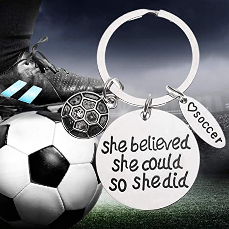 Proud Soccer Player or Soccer Team Gifts Sportybella Soccer Keychain /& Card Gift Set Soccer She Believed She Could So She Did Keychain Soccer Zipper Pull Soccer Gifts