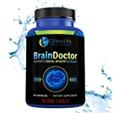Brain Booster Supplement, Maximum Strength Brain Focus & Memory Supplement to Optimize Brain Function, Increase Clarity & Energy, Improve Mood. Nootropic w DMAE for Brain Support. Gluten Free, 60 Caps