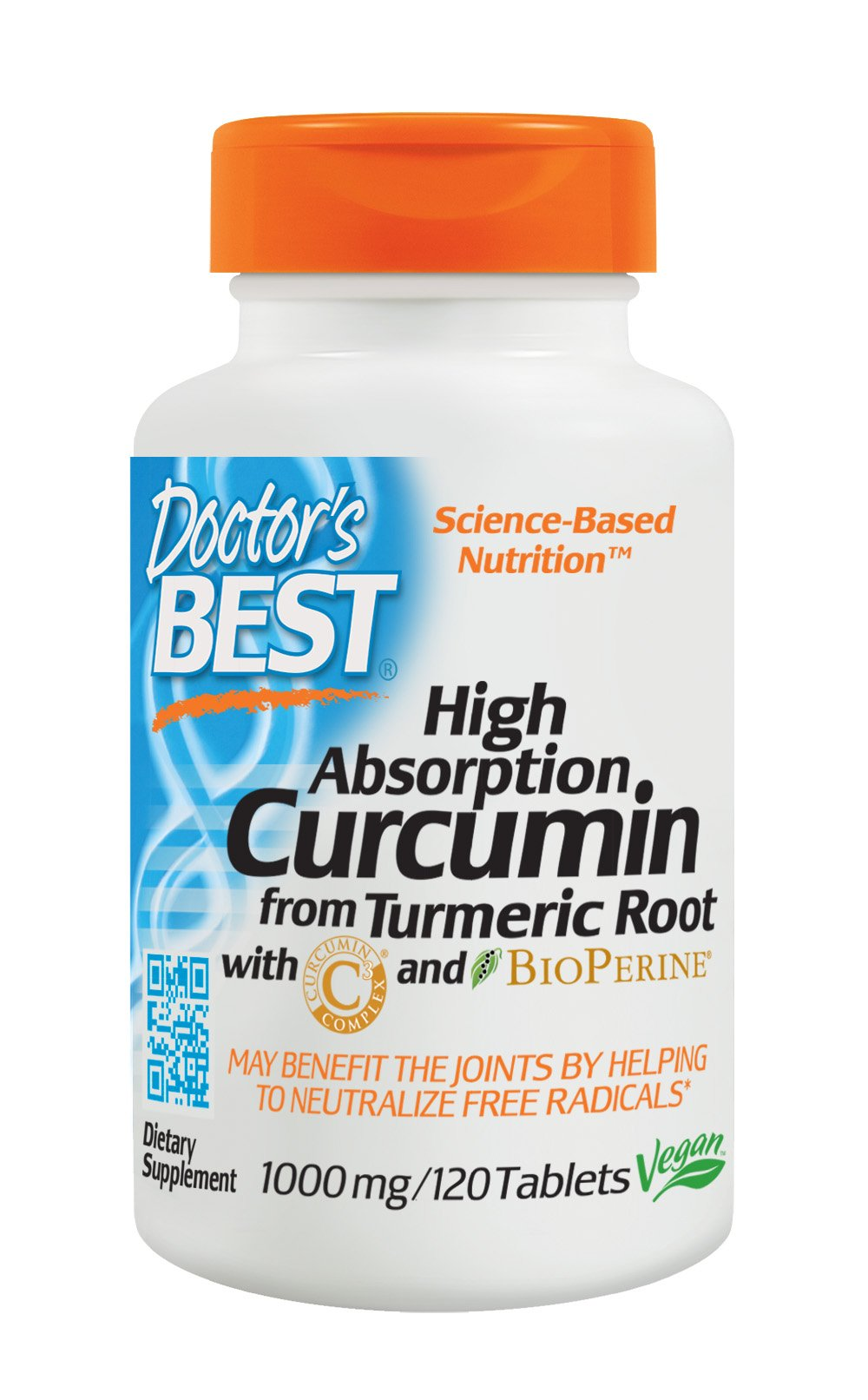 Doctor's Best Curcumin From Turmeric Root  with C3 Complex & BioPerine, Non-GMO, Gluten Free, Soy Free, Joint Support, 1000 mg, 120 Tablets