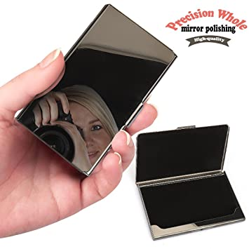 Hamosky clear professional full mirror business card holder business hamosky clear professional full mirror business card holder business card case stainless steel card business card colourmoves