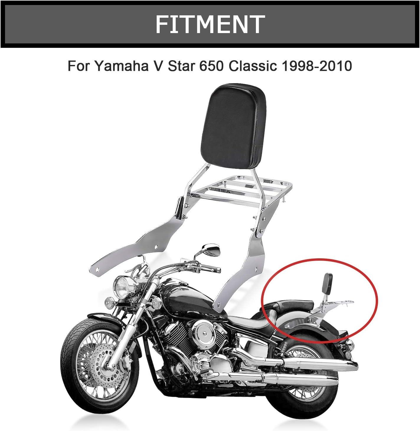 MotorFansClub Passenger Back Seat Cushion Backrest Sissy Bar Luggage Rear Rack Fit For Compatible With Yamaha V Star 650 400 Custom 96-2011 For Yamaha Drag Star 400 650 Custom 1997-2011 Black
