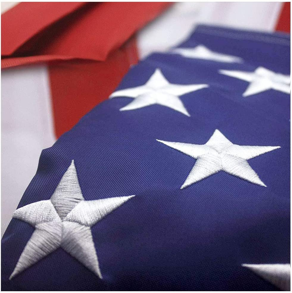 VSVO American Flag 3x5 ft - Heavyweight Nylon US Outdoor Flags, UV Protected, Embroider Stars, Sewn Stripes, Brass Grommets Outdoor US Flags.
