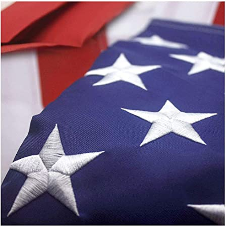 VSVO American Flag 2x3 ft Brass Grommets Outside US Flags. Embroidered Stars Sewn Stripes US Outdoor Flags- UV Protected